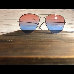 Pink and Blue aviator sunglasses with gold frames